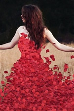 Preview iPhone wallpaper Red rose petals dress with girl