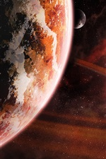 Preview iPhone wallpaper Red space, kosmos planet, stars