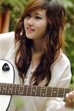 Preview iPhone wallpaper Smile guitar girl, music, asian