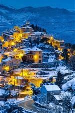 Preview iPhone wallpaper Snow winter, mountains, forest, village, evening, dusk, lights