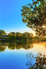 Preview iPhone wallpaper Spring sunset, lake water reflection, trees, sunlight, blue sky