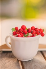 Preview iPhone wallpaper Still life, book, cup, red berry
