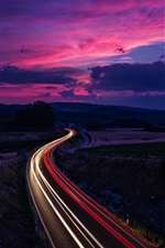Preview iPhone wallpaper Switzerland, road traffic, lines light, sunset, twilight, purple sky
