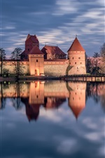 Preview iPhone wallpaper Trakai, Lithuania, castle, lake, water reflection, sunset