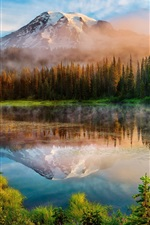 Washington, Cascade Mountains, morning, forest, lake, mist, sunrise