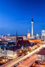Preview iPhone wallpaper Alexanderplatz, Berlin, Germany, city night, evening, house, lights