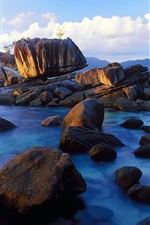 Preview iPhone wallpaper Anse Soleil, Mahe Island, Seychelles, coast, stones
