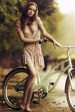 Preview iPhone wallpaper Beautiful barefoot girl, bicycle, fall