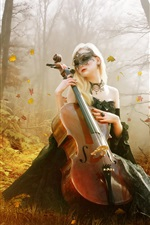 Preview iPhone wallpaper Beautiful guitar girl in the forest