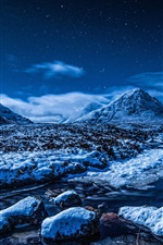 Preview iPhone wallpaper Blue winter landscape, snow, mountains, stars, stream, night
