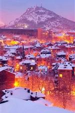 iPhone fondos de pantalla Luces de la ciudad en invierno, Plovdiv, Bulgaria