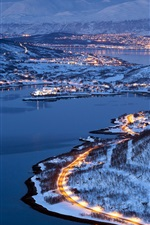 Preview iPhone wallpaper City lights of Tromso, Norway, winter night