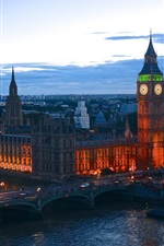 England, London, evening dusk, lights, bridge, river, buildings