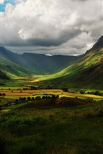 Preview iPhone wallpaper England nature, valley, mountains, hills, fields, sky, clouds, shadow