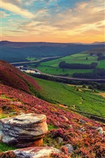 Preview iPhone wallpaper England, valley, river, fields, sky, wildflowers, sunset