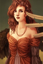 Preview iPhone wallpaper Fantasy art girl, wings, angel, red hair, curls