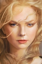 Preview iPhone wallpaper Fantasy girl, art, blonde hair, wind