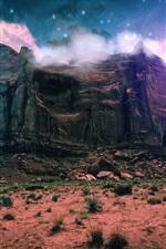 iPhone壁紙のプレビュー ファンタジー風景、創造的、山、崖、雲、スペース、石、星
