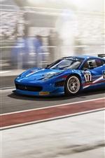 Preview iPhone wallpaper Ferrari 458 Italia blue supercar, FIA GT3