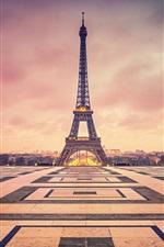 Preview iPhone wallpaper France, Paris, Eiffel Tower, evening, dusk