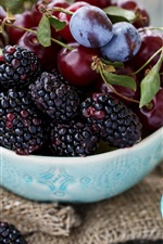 Fruit, berries, blackberries, cherries, plums