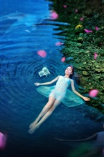 Preview iPhone wallpaper Girl lying pond water, blue, night