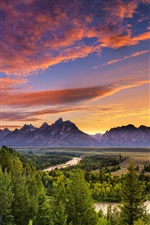 Preview iPhone wallpaper Grand Teton National Park, Wyoming, river, forest, sunset, sky, trees