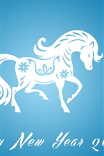 Preview iPhone wallpaper Happy New Year 2014, horse year, blue