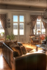 Preview iPhone wallpaper Interior design, retro, sofa, chandelier