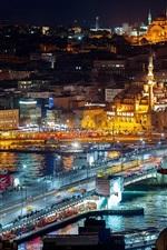 Istambul, Turquia, iluminação noturna, cidade, edifícios, ponte, água