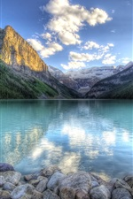 Preview iPhone wallpaper Lake water reflection, mountains, forest, sky, rocks, clouds