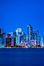 Preview iPhone wallpaper Miami, Florida, night, lights, city, buildings, blue