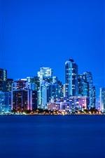 iPhone обои Майами, Флорида, ночь, огни, город, здания, синий