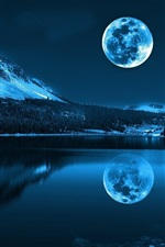 Preview iPhone wallpaper Moon, lake, mountains, cold night, nature scenery