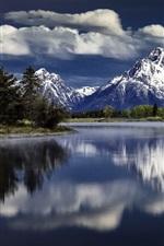 Preview iPhone wallpaper Mount Moran, Snake River, Grand Teton National Park, water reflection
