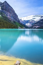 Preview iPhone wallpaper Mountain, forest, lake, rocks, house