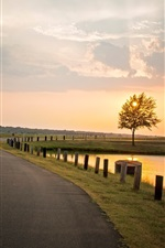 Preview iPhone wallpaper Nature landscape, sunset, tree, road, river, fence, sky clouds