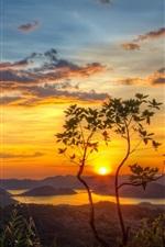 Preview iPhone wallpaper Nature, mountains, lake, tree, sun, morning, dawn