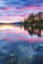 Preview iPhone wallpaper Nature scenery, trees, lake, water, stones, sunset, tranquility