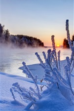 Preview iPhone wallpaper Nature winter, sunset, trees, snow, ice, river, sky