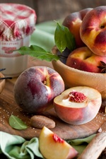 Preview iPhone wallpaper Nectarine fruit, peaches, sugar, board, still life
