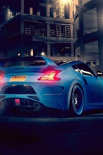 Preview iPhone wallpaper Nissan 370Z blue car back view