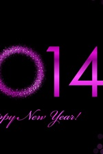 Preview iPhone wallpaper Purple 2014, Happy New Year