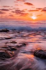 Preview iPhone wallpaper Sea, beach, waves, reefs, sun, dawn, red sky