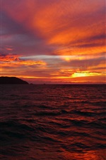 Preview iPhone wallpaper Sea, sky, clouds, horizon, sun, sunset, red style