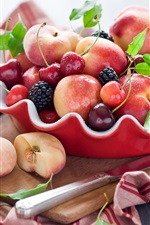 Preview iPhone wallpaper Still life, fruit, peaches, cherries, blackberry, wood board, knife