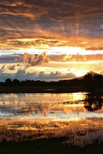 Preview iPhone wallpaper Sunset landscape, lake, swamp, night, clouds