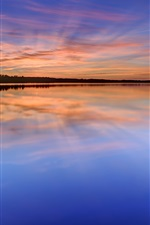Preview iPhone wallpaper Sweden, Karlstad, lake, water, grass, trees, night, sunset, reflection