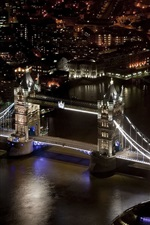 Tower Bridge, London, England, river, night city, buildings, black style