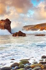 Preview iPhone wallpaper USA, California, ocean, stones, clouds, waves splash